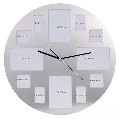 Emako Zegar ścienny z ramkami na 12 zdjęć, chromowany, ⌀ 40 cm (8718158491404)
