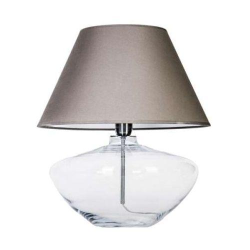 Abażurowa LAMPA stołowa MADRID L008031203 4Concepts nocna LAMPKA stojąca do sypialni szara przezroczysta, L008031203