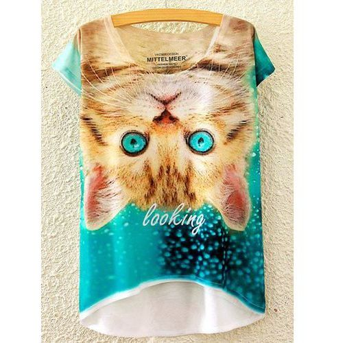 Scoop Neck Kitty Print High Low Short Sleeve T-Shirt For Women