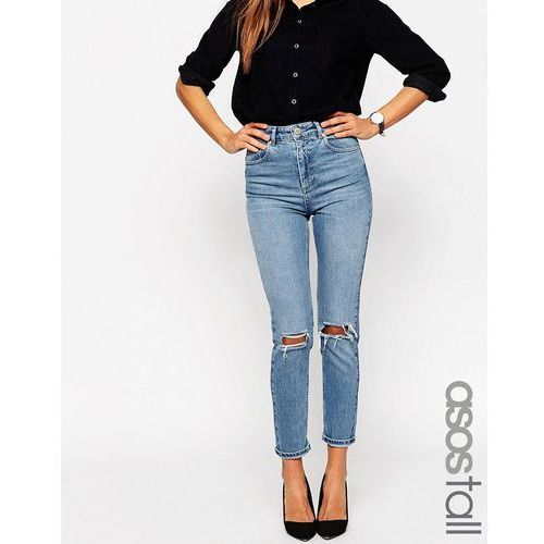 ASOS TALL Farleigh Slim Mom Jeans In Prince Light Wash With Busted Knees - Blue