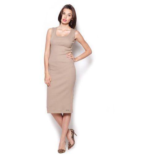 Beżowa Bawełniana Sukienka Midi bez Rękawów, FM282cr