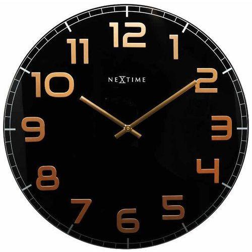 zegar ścienny czarno - miedziany - 'classy round black' marki Nextime