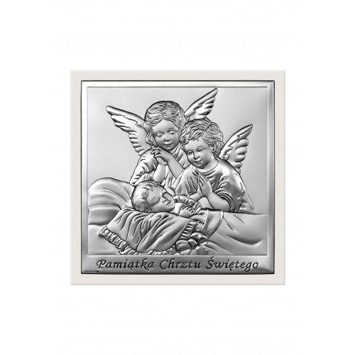 Srebrny obrazek z aniołkami