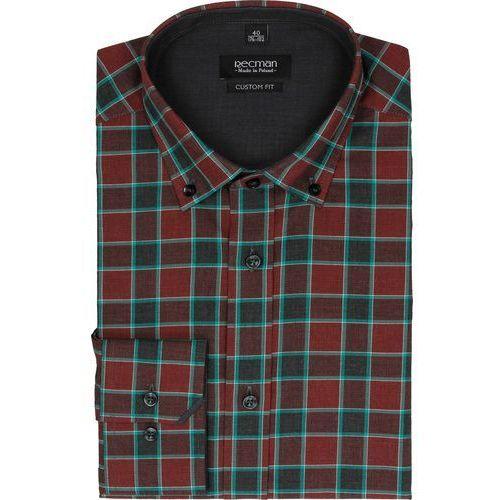 Koszula bexley 2297 długi rękaw custom fit bordo marki Recman