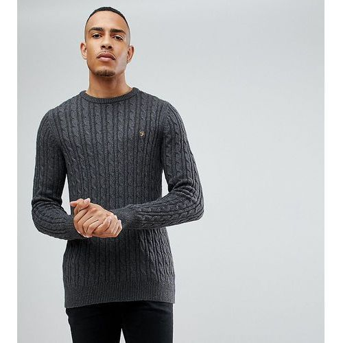 tall lewes twisted marl cable jumper in charcoal - grey, Farah