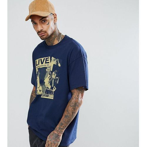Reclaimed vintage inspired short sleeve t-shirt with graphic print - navy
