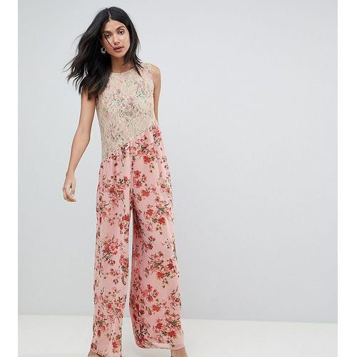ASOS TALL Jumpsuit in Soft Floral with Lace Bodice Detail - Pink