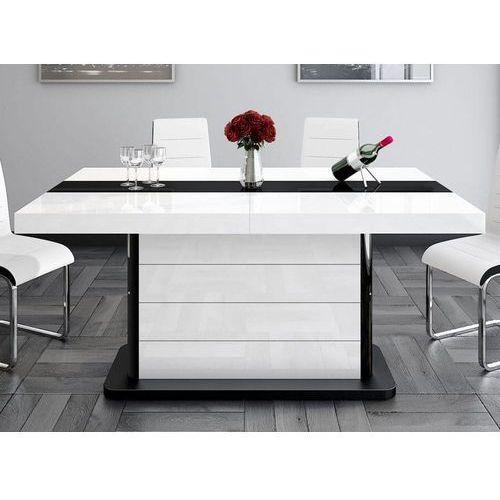 Stół rozkładany PIANOSA 160-260 cm biało czarny wysoki połysk, HS-0020