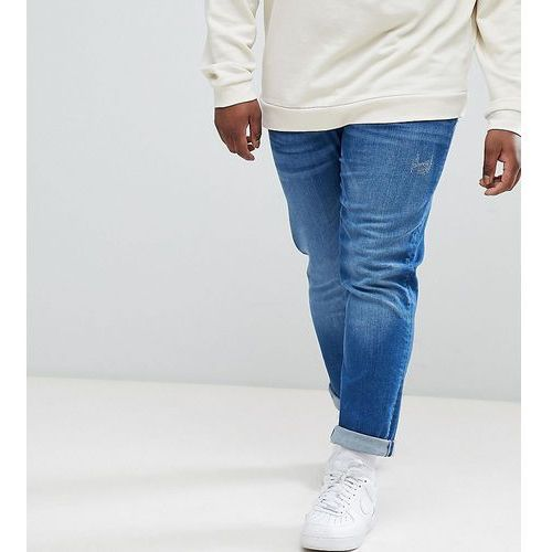 River island big & tall slim jeans in mid wash - blue