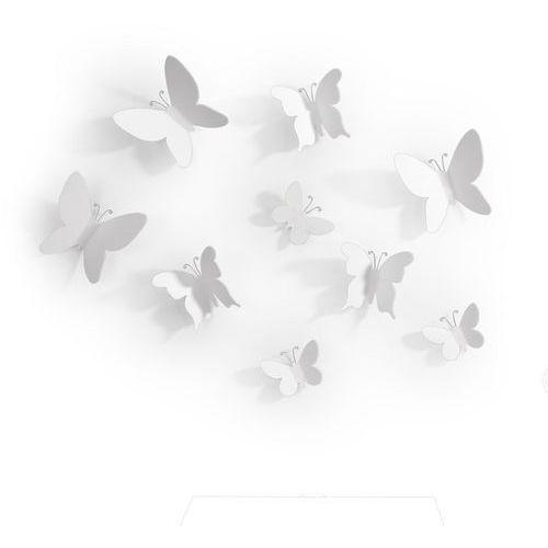 Umbra - Dekoracja ścienna - Mariposa - 9 szt. - biały