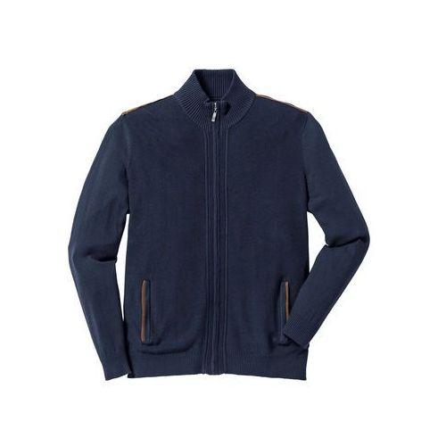 Sweter rozpinany regular fit ciemnoniebieski marki Bonprix