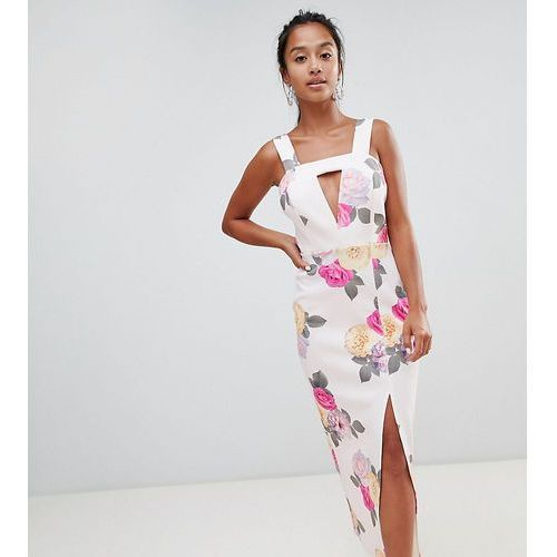 ASOS DESIGN Petite Cut Out square neck maxi in floral print dress - Multi