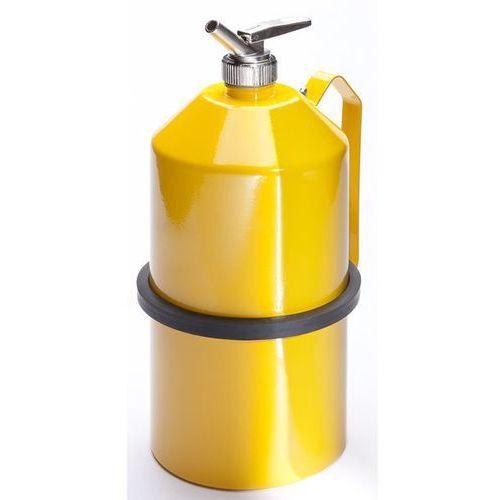 Pojemnik dozujący z precyzyjnym kurkiem dozującym, blacha stalowa, kolor żółty, marki Denios