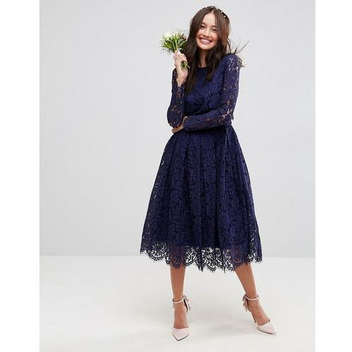 design bridesmaid ruched mesh bardot maxi dress - navy marki Asos