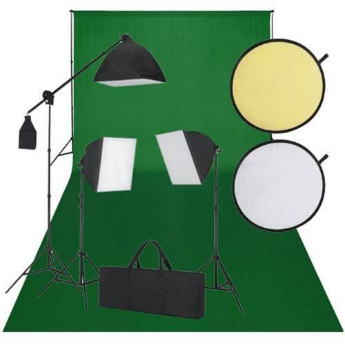 vidaXL Zestaw studio, zielone tło, 3 lampy i reflektor (8718475821083)