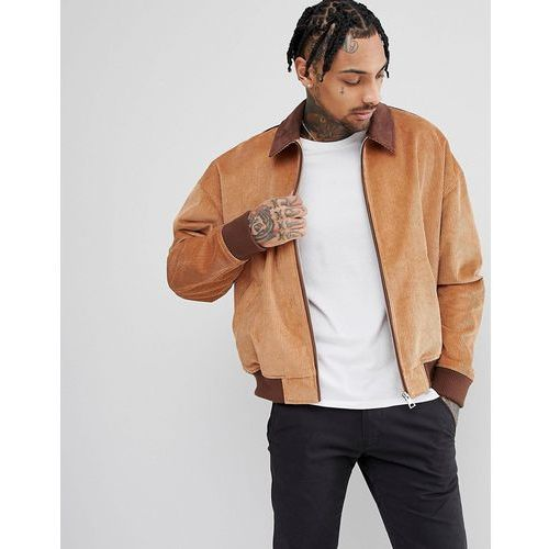 design cord oversized harrington jacket with faux suede collar in tan - tan marki Asos