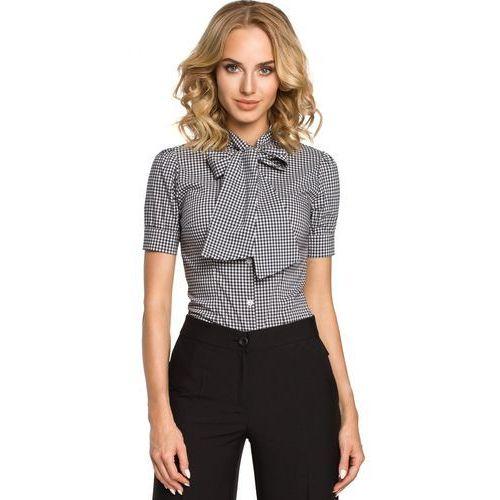 MOE088 Koszula z kokardą i krótkim rękawem - czarna