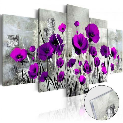 Obraz na szkle akrylowym - Łąka: Purpurowe maki [Glass]