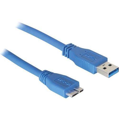 Delock Kabel usb 3.0  83502, [1x złącze męskie usb 3.0 a - 1x złącze męskie micro-usb 3.0 b], 5 m, niebieski (4043619835027)