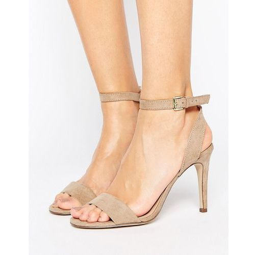suedette barely there heeled sandal - beige marki New look