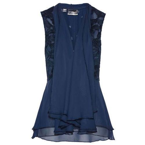 Bonprix Kamizelka bluzkowa z koronką ciemnoniebieski