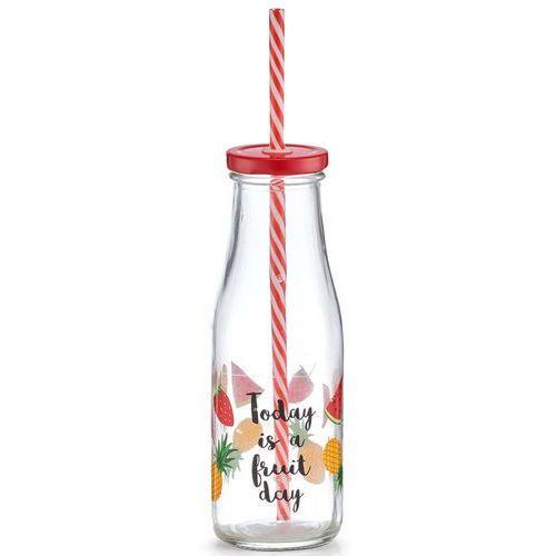 Słoiczek-butelka do koktajli, dekoracyjna szklanka ze słomką i pokrywką - 400 ml, ZELLER