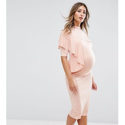 Asos maternity dress with one deconstructed cold shoulder - pink