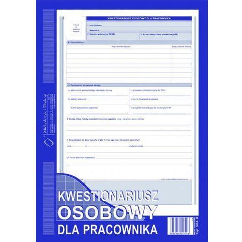 Kwestionariusz osobowy dla pracowników. Typ: 504-B (A4) + zakładka do książki GRATIS (5906858018493)