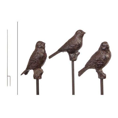 Ogrodowy żeliwny ptaszek na patyczku w kolorze brązu