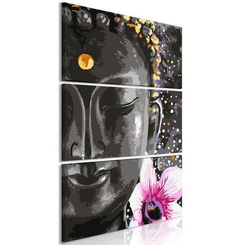 Artgeist Obraz - budda i kwiat (3-częściowy) pionowy
