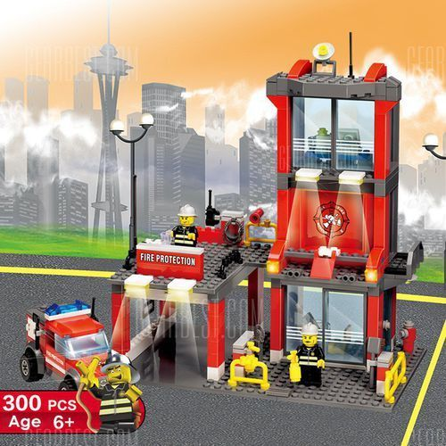 Gearbest 300pcs abs mini fire station building block model diy, kategoria: puzzle
