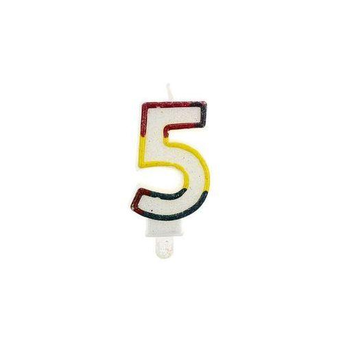 Godan Świeczka urodzinowa cyferka biała z brokatem 5 (5905548901220)