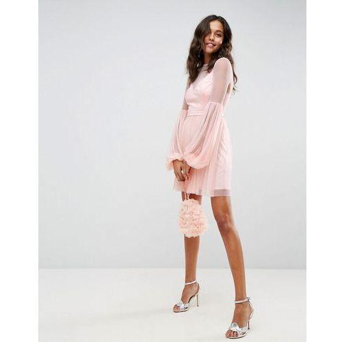 Asos dobby mesh balloon sleeve mini dress - pink