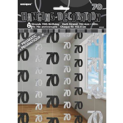 Dekoracja wisząca srebrno-czarna - 70-tka - 152 cm - 6 szt. marki Unique