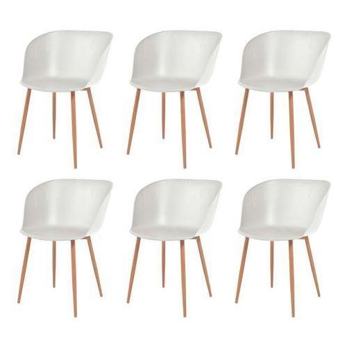 Komplet 6 krzeseł, białe, plastikowe siedziska i stalowe nogi
