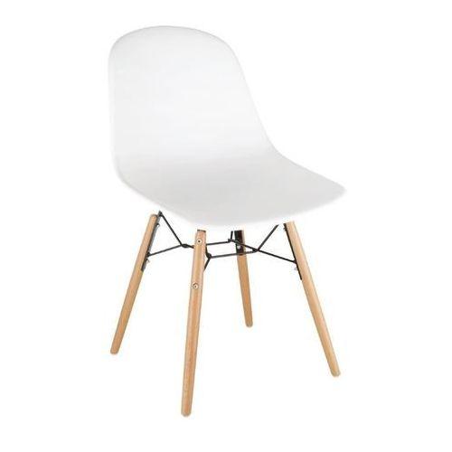 Krzesła polipropylenowe | białe | drewniane nogi | 2 szt. marki Bolero