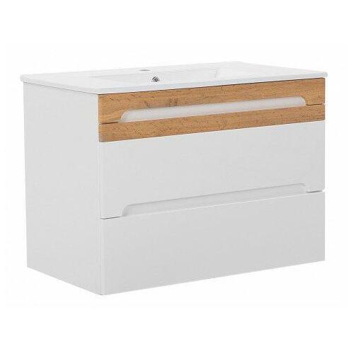 Wisząca szafka pod umywalkę z szufladami - marbella 4x biały połysk 80 cm marki Producent: elior