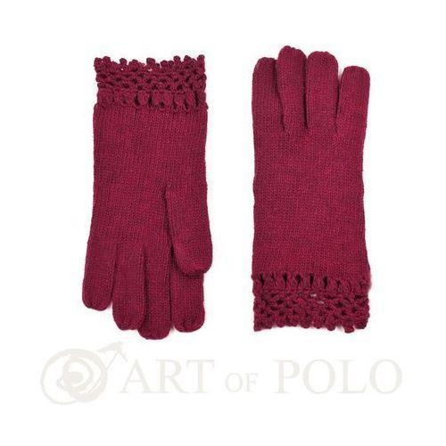 Bordowe wełniane rękawiczki damskie z ażurową koronką - bordowy marki Evangarda