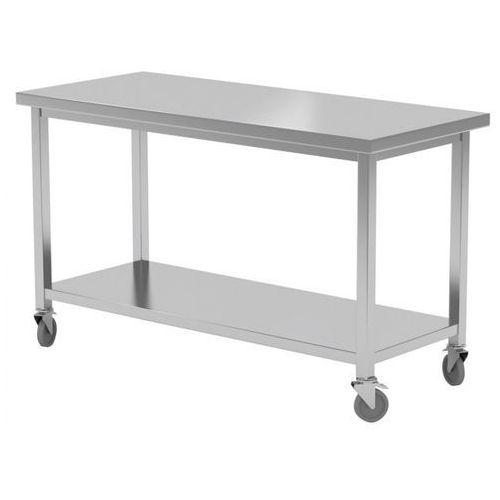 Stół nierdzewny jezdny z półką 140x60x85(h) marki Polgast