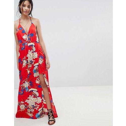Parisian floral print cami maxi dress - red