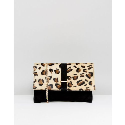 Urbancode leopard print pony hair clutch bag with detachable strap - black