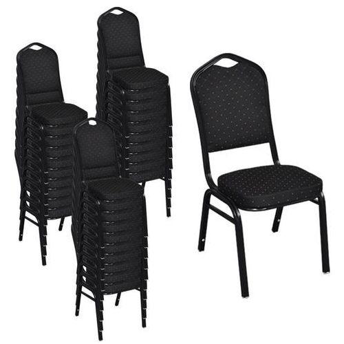 Krzesła do jadalni, 30 szt., sztaplowane, materiałowe, czarne, kolor czarny