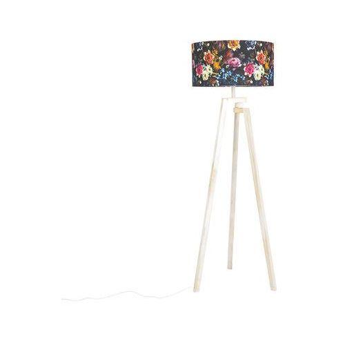 Designerska lampa podlogowa trójnóg biale drewno klosz w kwiaty - cortina marki Qazqa