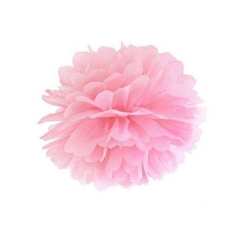 Dekoracja wisząca pompon kwiat - j. różowa - 35 cm - 1 szt.