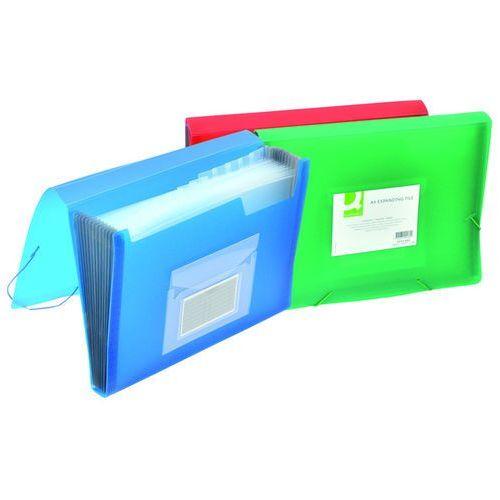 Teczka harm. z gumką Q-CONNECT, PP, A4, 12-przegr., transparentna niebieska