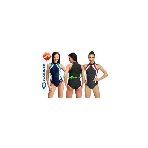 OLIVIA strój kąpielowy pływacki grafit/czerwień/biały gWINNER + Czepek   WYSYŁKA 24h