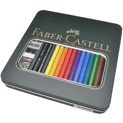 Zestaw artystyczny: kredki polychromos faber-castell, 12 kolorów + 2 ołówki castell 9000 marki Faber castell