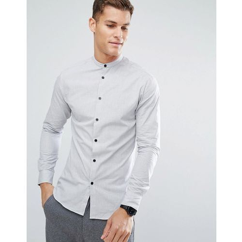 slim shirt in mini grid print with contrast buttons and china collar - white, Selected homme