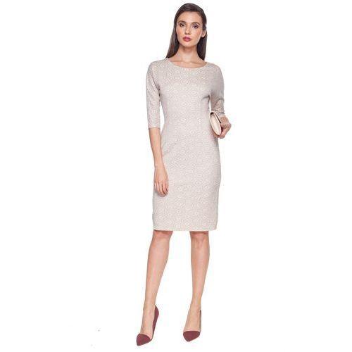 Vito vergelis Beżowa sukienka z wytłaczanym wzorem -