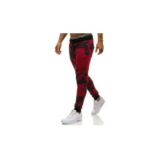 Spodnie męskie dresowe joggery moro-czerwone Denley 0917